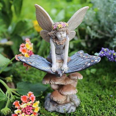 Scarlett Fairy riding a Butterfly Mushroom included Miniature Fairy Garden 81