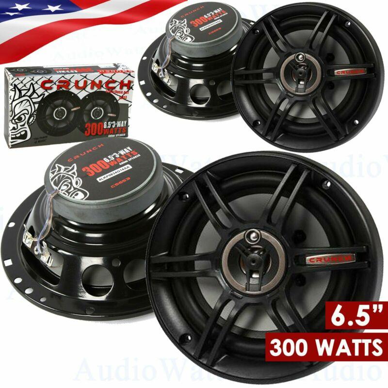 """2 PAIRS - CRUNCH CS653 6.5"""" 3-WAY 300 WATTS FULL RANGE SPEAKERS 6-1/2"""" CAR AUDIO"""