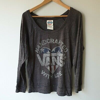 Junk Food x VANS Womens Size M Grey Graphic Long Sleeve Top Relax Casual Cosy