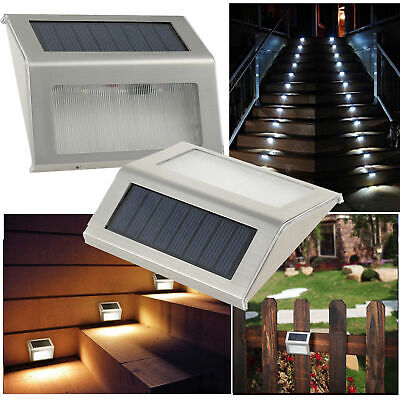2PCS LED Solar Powered Stainless Steel Fence Light Outdoor Garden Step Wall Path Stainless Steel Solar Wall