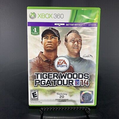 Tiger Woods PGA Tour 14 Microsoft XBox 360 Game, Case And Inserts Free Shipping