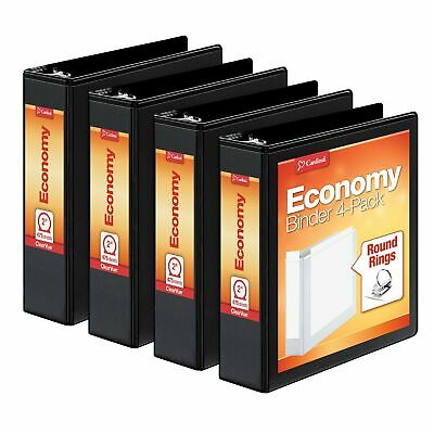 Cardinal 2 Inch 3 Ring Binder Round Ring Black 4 Pack Holds 475 Sheets 7...
