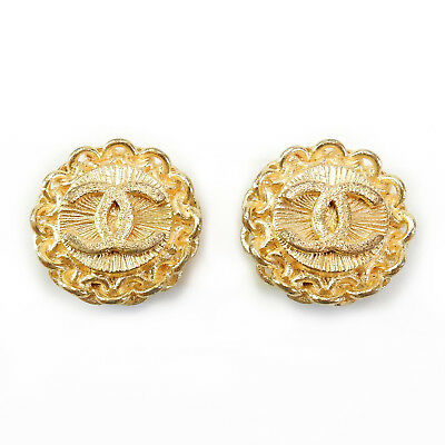 CHANEL Gold Plated CC Logos Vintage Clip Earrings #1990a Rise-on
