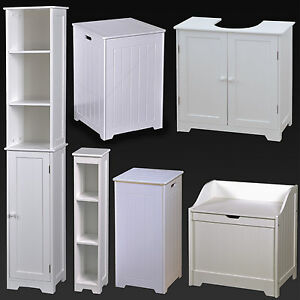 White Wood Bathroom Furniture Shelves Cabinet Laundry Hamper Basket Under Sink Ebay