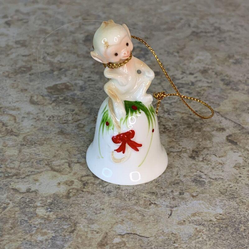 Vintage Miniature Bone China Bell Monkey Hand Painted Japan