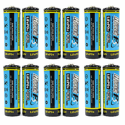 12 x 14430 4/5AA 400mAh 3.2V Volt LiFePO4 Rechargeable Battery HyperPS US Stock