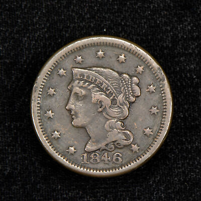 1846 1c BRAIDED HAIR LARGE CENT, VF COIN LOT#Y494