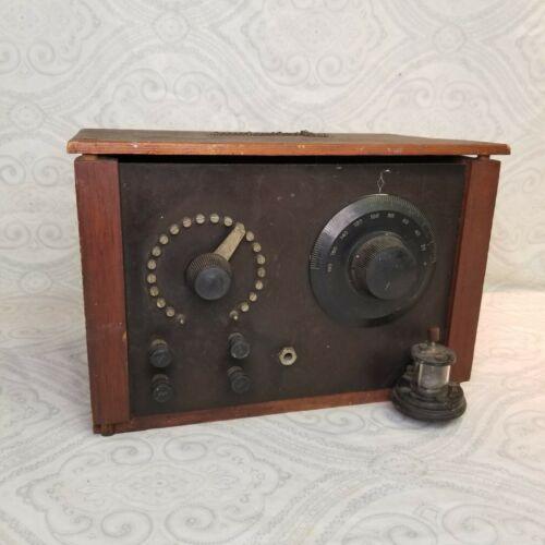 Vintage Pacent #30 Crystal Radio Detector Stand Wood Cabinet Dial Box 1920s
