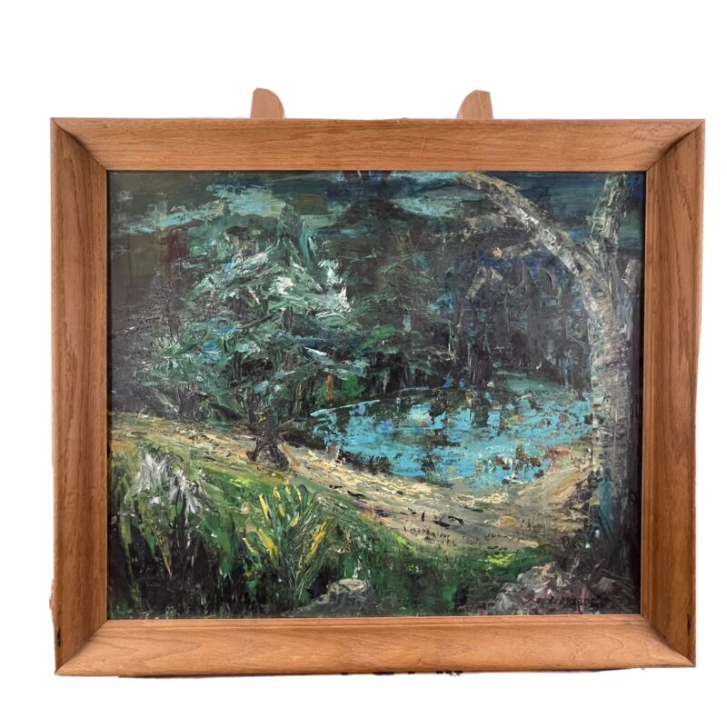 RENÉ REED Signed Impressionist Forest Landscape Acrylic on Canvas