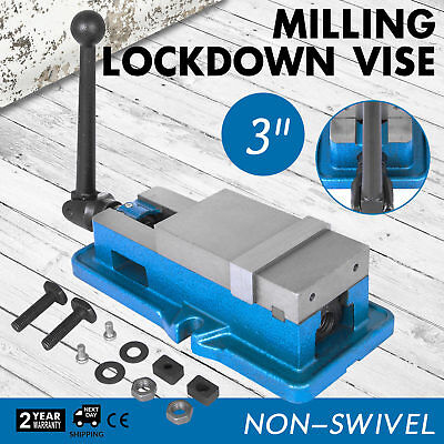 """3/"""" Non-Swivel Milling Lock Vise Bench Clamp CNC 24KN 80mm Width Hardened Metal"""