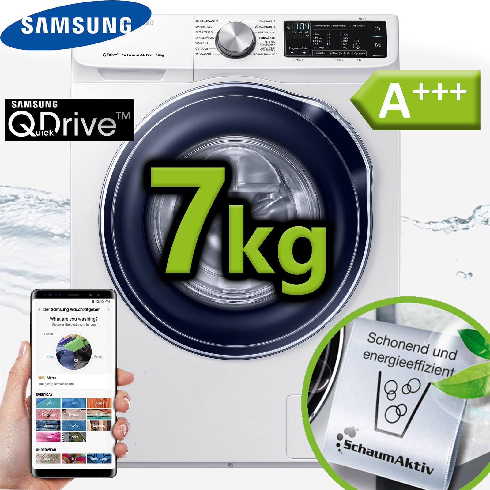 Samsung Waschmaschine A+++ QuickDrive™ Frontlader Display Waschautomat 1400 UpM