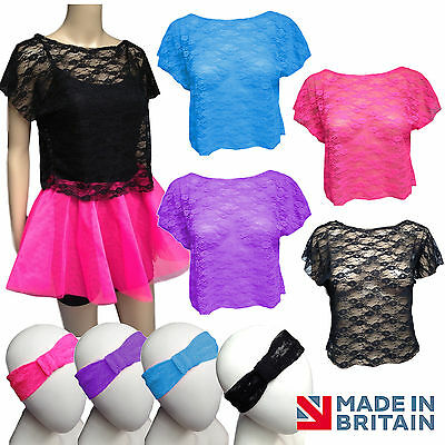 80s Retro POP STAR LACE CROP Top + NEON TUTU costume HEN PARTY OUTFIT UK MADE ()