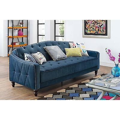 Novogratz Vintage Tufted Sofa Sleeper II Blue Bed Couch Futon Lounger room NEW