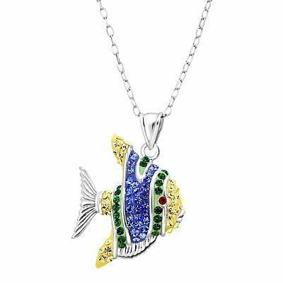 Crystaluxe Tropical Fish Pendant with Swarovski Crystals in Sterling Silver