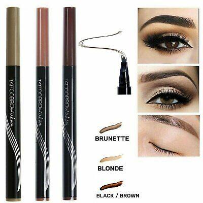 Microblading Tattoo Eyebrow Ink Pen Long Lasting 3D Fork Waterproof Pencil Brow Eyebrow Liner & Definition