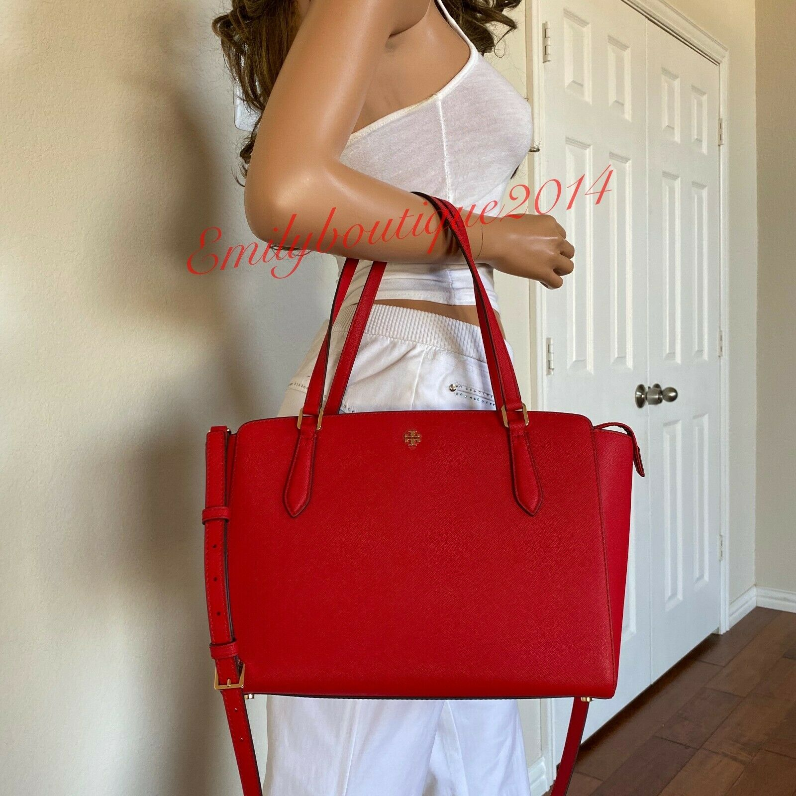 NWT TORY BURCH EMERSON SMALL TOP ZIP BRILLIANT RED LEATHER TOTE SHOULDER BAG