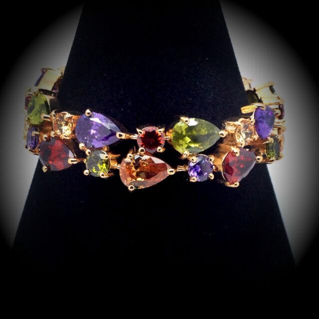 18ct Rose Gold Bracelet Multicolour Zircon Crystals.17.5cm