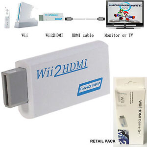 NEW WII TO HDMI WII2HDMI FULL HD 1080P CONVERTER ADAPTER 3.5mm AUDIO SUPPORT