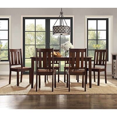 7 Arrangement Dining Set Home Furniture Table 6 Chairs Classic Style Mocha Solid Wood