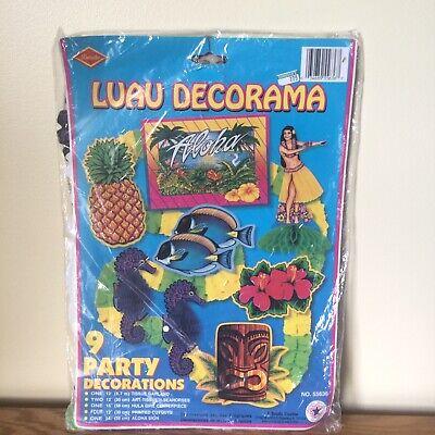 Vintage Luau Decorations BEISTLE Hawaiian Party Tiki Tropical Summer NIP 70s 90s - Vintage Luau Decorations