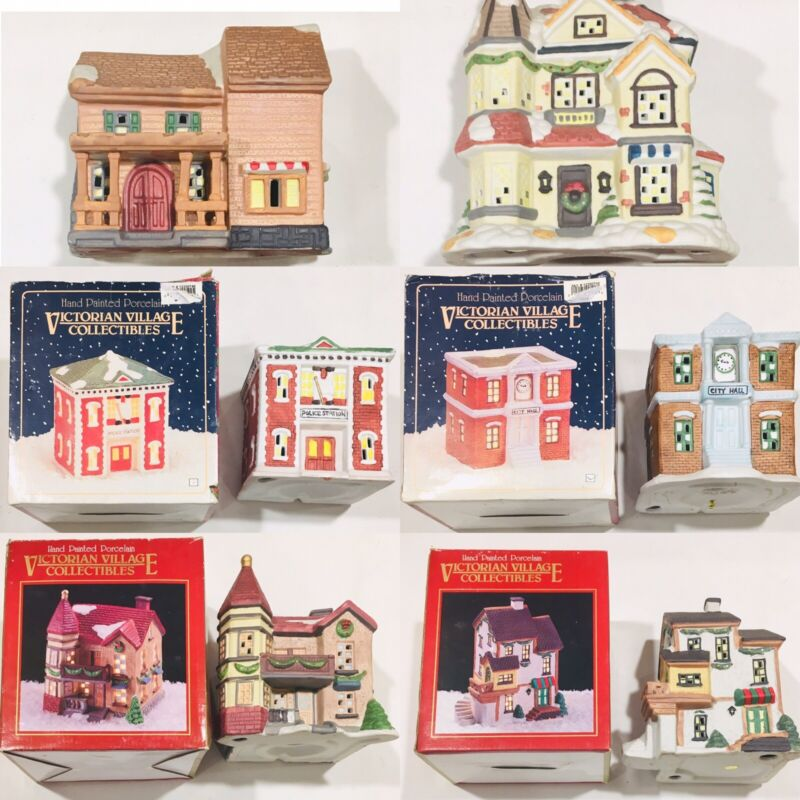Victorian Village Collectibles Lot 6 Porcelain Lighted Christmas & Buffalo Snow
