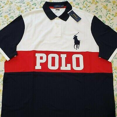 Mens Polo Ralph Lauren Classic Fit Colorblock Polo Shirt Big Pony (White Ralph Lauren Polo)