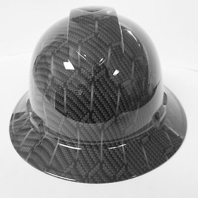 Hard Hat Full Brim Custom Hydro Dipped Hex Weave Carbon Fiber 3d New Sick Killer