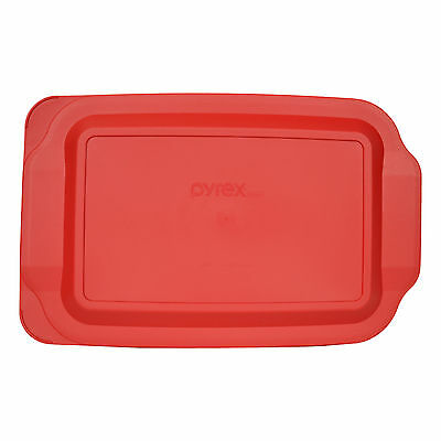 "Pyrex 233-PC Rectangle 9"" x 13"" 3 Quart Storage Container Lid Cover Red New"