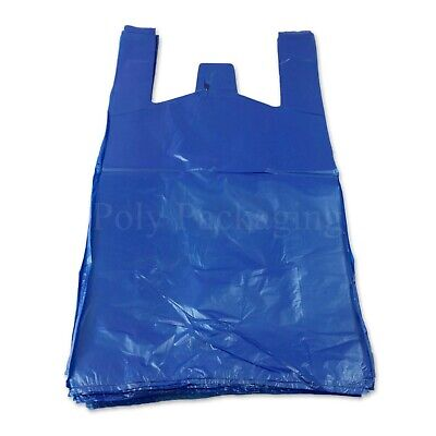 3000 x BLUE VEST CARRIER BAGS 11x17x21