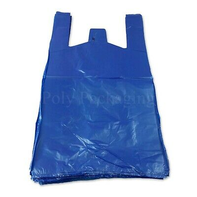 1000 x BLUE VEST CARRIER BAGS 11x17x21