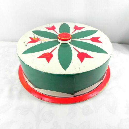 Vintage 50s Metal Tin Cake Pie Saver Carrier Dutch Green Red Tulip Retro Kitchen