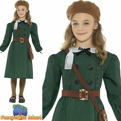 WW2 School Girl 40's Wartime Evacuee Childs Kids Girls Fancy Dress Costume