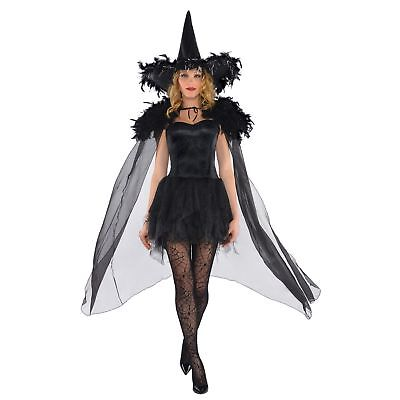 Feather Witch Cape Luxury Halloween Ladies Womens Adults Fancy Dress Costume](Luxury Halloween Costume)