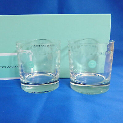 "Authentic Tiffany & Co. Pair Swing Rock Glasses 8.5cm/3.4"" Excellent Used In Box"