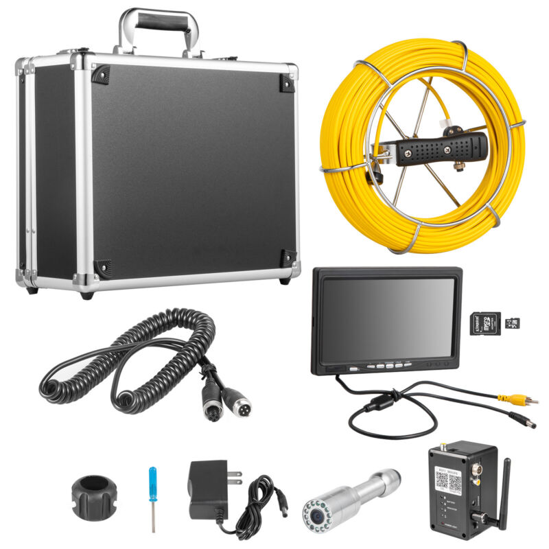"""9"""" LCD Pipe Inspection Pipeline Drain Sewer Waterproof Camera 50M Wifi 16G w/DVR"""