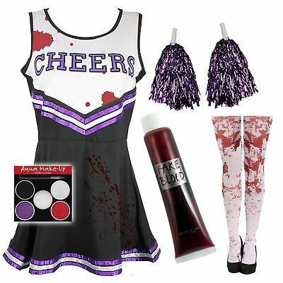 Zombie Cheerleader Disfraz Halloween Medias+Pompones+Sangre Falsa