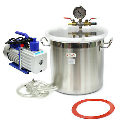 5 Gallon Stainless Steel Vacuum Degassing Chamber Silicone Kit W5 Cfm Pump Hose