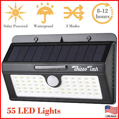 Solar Lights Outdoor Motion Sensor Security Deck Yard Patio Lamp 55 LED 3 Modes