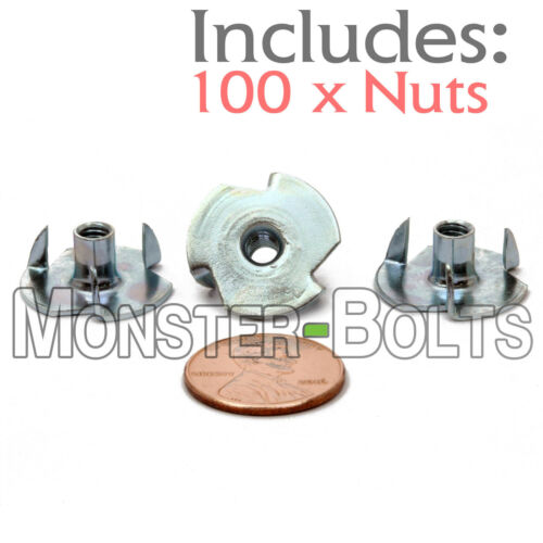 "#8-32 x 5/16"" – Qty 100  3 Prong Tee Nut Straight Barrel Zinc Plated Steel T-Nut"