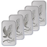 Trademark Bald Eagle 1oz .999 Fine Silver Bars LOT OF 5