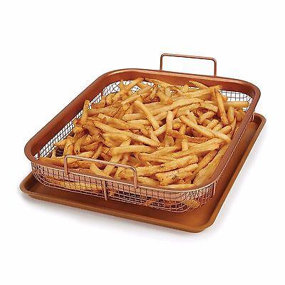 2 Piece Crisper Air Fryer Grill Oven Non Stick Cooking Bake Set Copper Chef Pan