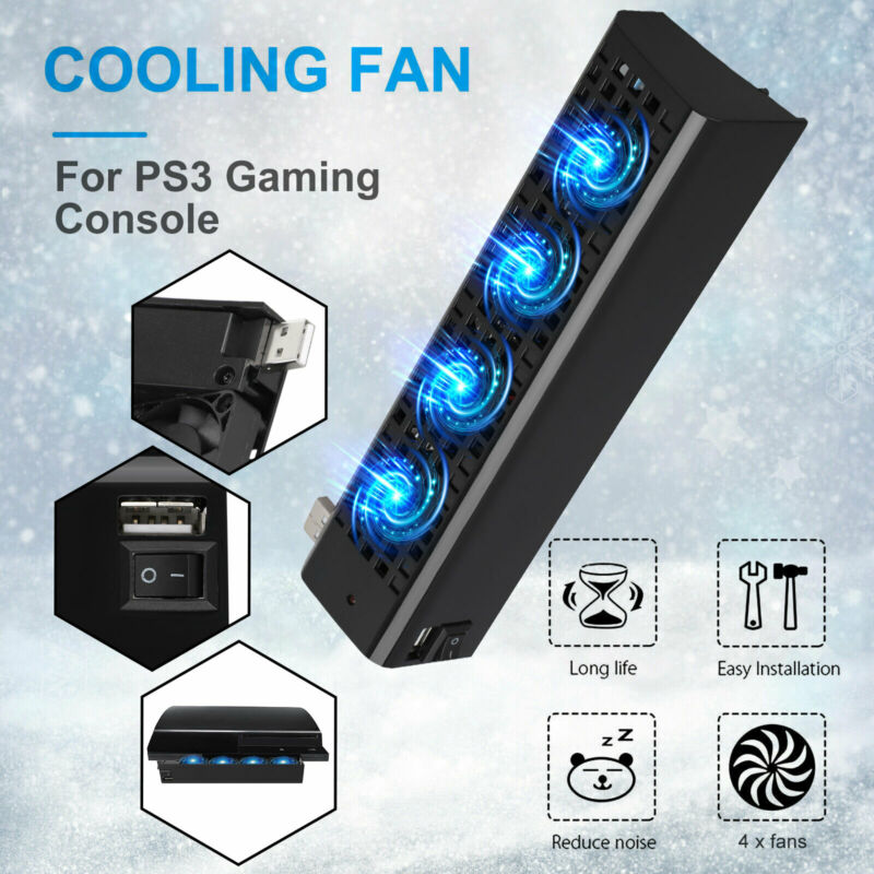 4-Fan External Front Intercooler USB Extra Cooling System Cooler for Sony PS3