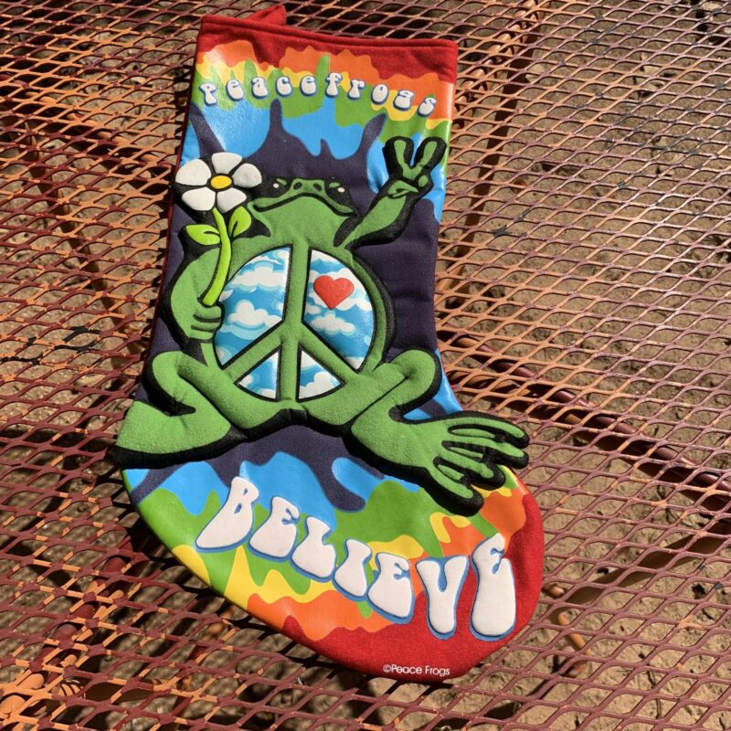 Christmas Stockings Groovy PEACE FROGS BELIEVE Puff Rainbow - Red Back