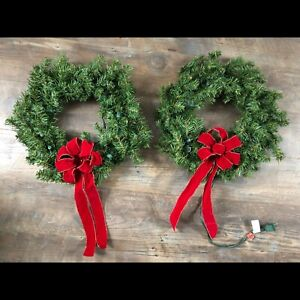 Lighted Christmas wreathes
