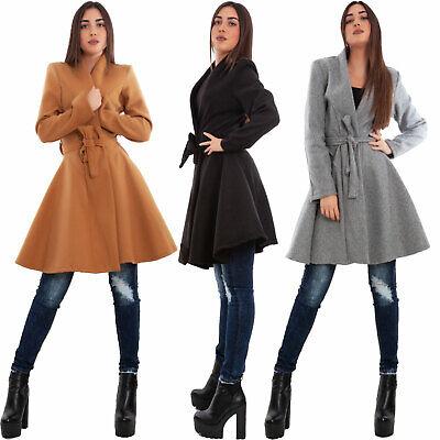 Cappotto donna panno svasato cintura aderente elegante giaccone TOOCOOL VB-7154