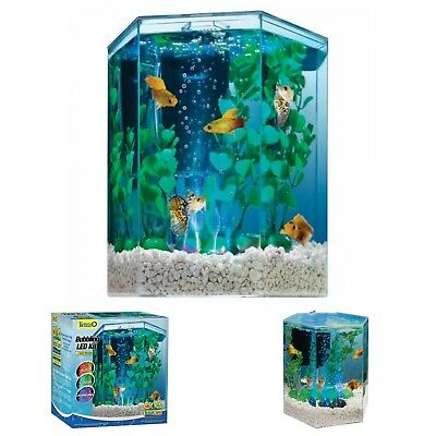 Aquarium Kit with LED Bubbler 1 Gallon Tetra Hexagon Fish Tank Pet Supplies