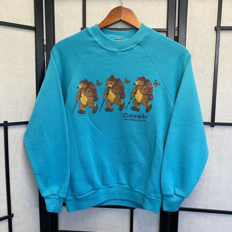 VTG 80s Colorado Bear Hiking Medium Crewneck Sweatshirt Funny C1