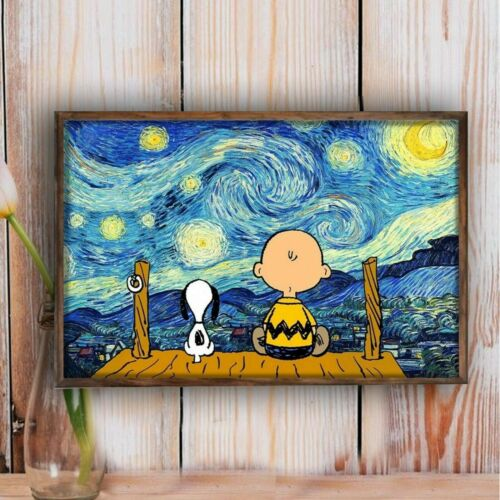 Charlie and Snoopy Starry Night Poster, Home Decor, Wall Art Poster, Wall Decor