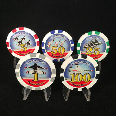 5 Pc Thunderbirds U.S Air Force Poker Chips