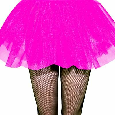 Adults Ladies 80s Neon Club Disco Rave Pink UV Tutu Skirt Fancy Dress Hen (80's Disco Party Kostüm)